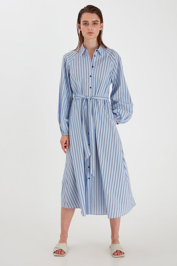 BY JOBINA Stripe Cotton Maxi Dress - Brunnera Blue Mix
