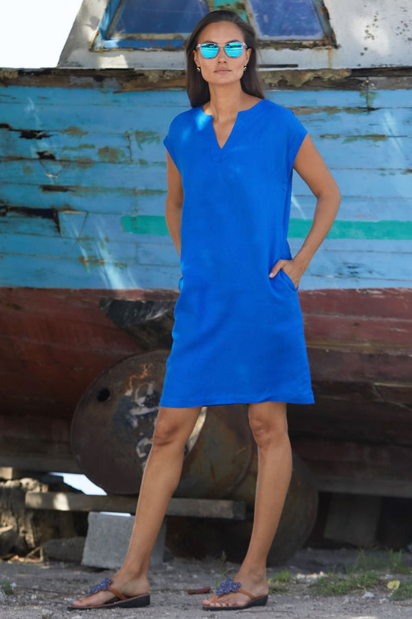ASPIGA Dori Linen V Neck Shift Dress - Cobalt Blue