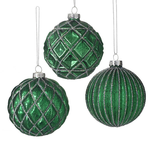 Set of 3 Glass Green Baubles