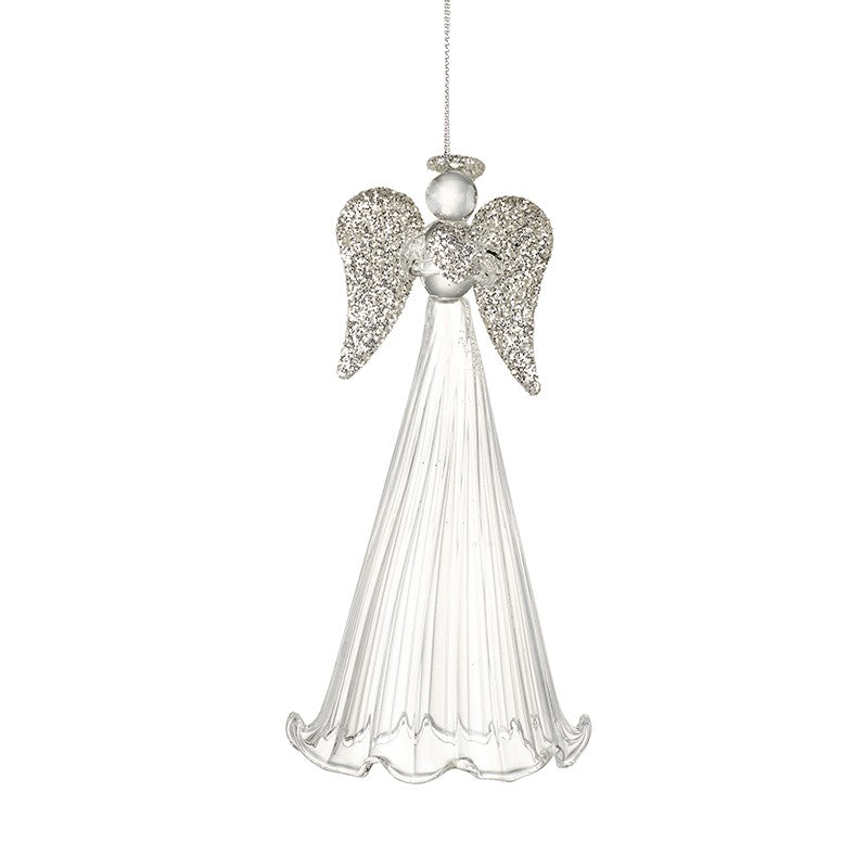 Glass Tall Skirted Angel with Silvery Wings