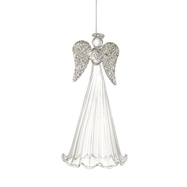 Glass Tall Plain Skirt with Silvery Wings Angel