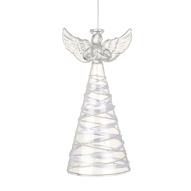 Glass Tall Ribbon Skirted Angel