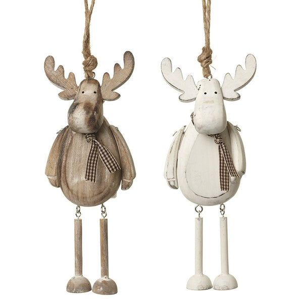 Se of 2 Wooden Reindeer Mix