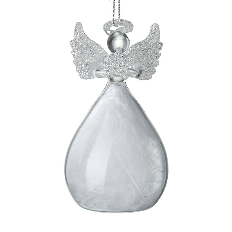Glass Small Feather Skirted Angel