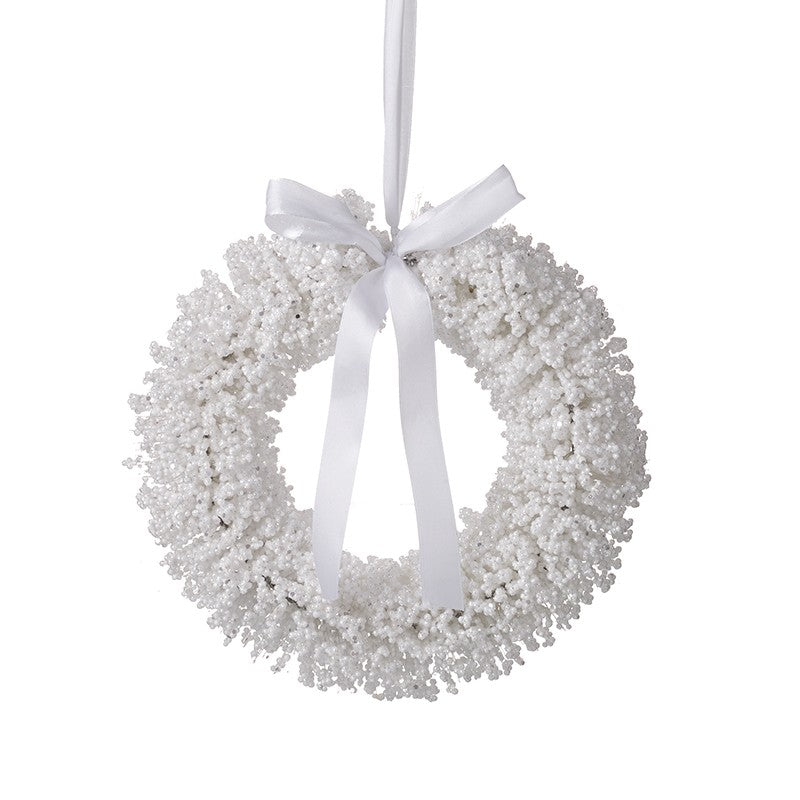 Snowy Wreath with White Bow