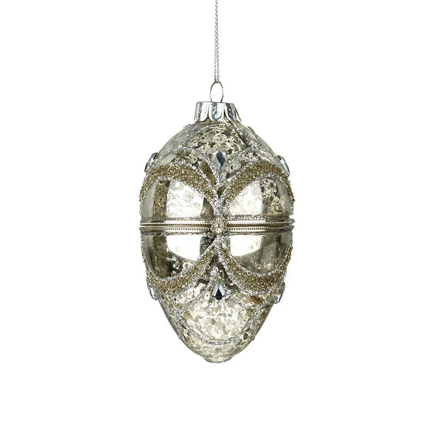 Glass Opening Silver Casket Egg Bauble