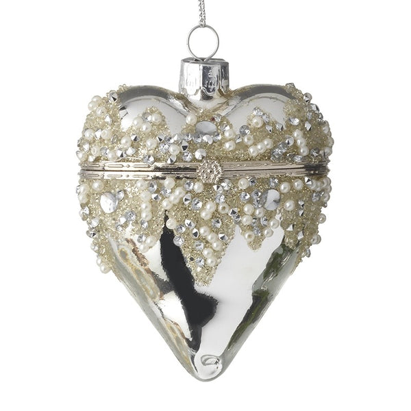 Glass Silver Heart with Pearls Casket Bauble
