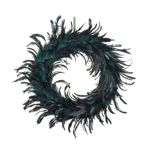 Feather Wreath - Dark Green