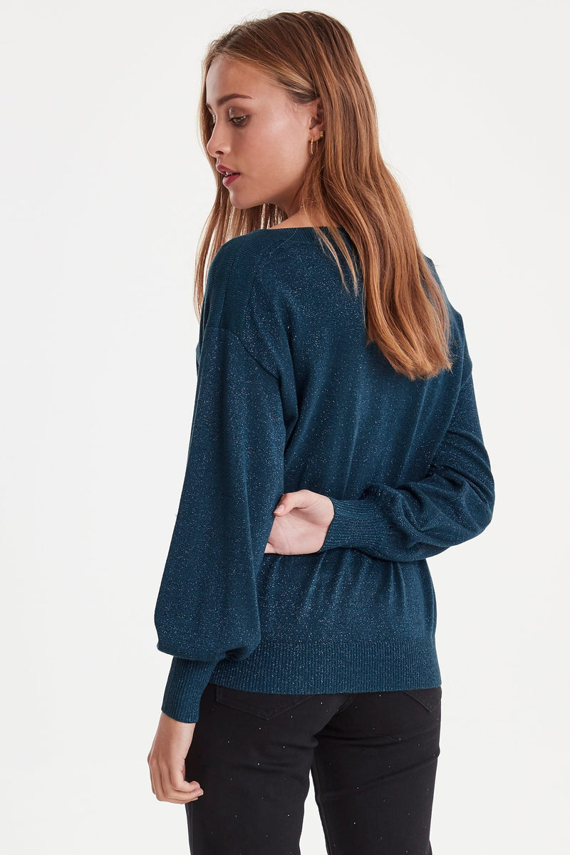 IH MOPAZ Sweater Round - Petrol Metallic