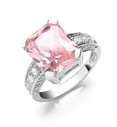 SWAN Boutique Rhodium Plated Silver Emerald Cut Pink Sapphire Ring