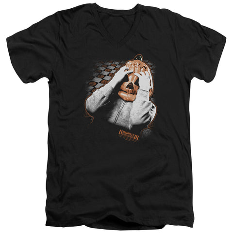 Halloween Iii - Pumpkin Mask Short Sleeve Adult V Neck