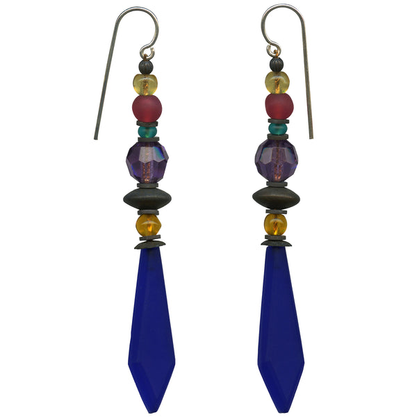 Frosted cobalt glass earrings. Amethyst, topaz, teal, frosted pink accents in Czechoslovakian glass. Metal trim is antiqued bronze with sterling silver ear wires. All handwork done in the USA.