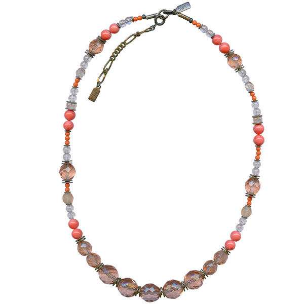 CORAL TONES 18 INCH NECKLACE IN BRONZE