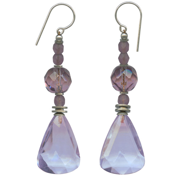 Light amethyst glass drop earrings with antique Czech glass focal beads. Sterling silver ear wires. Handmade in the USA.