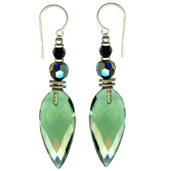 Tourmaline green faceted drop earring with jet and iridescent dark topaz Austrian crystal accents. Handmade in the USA.