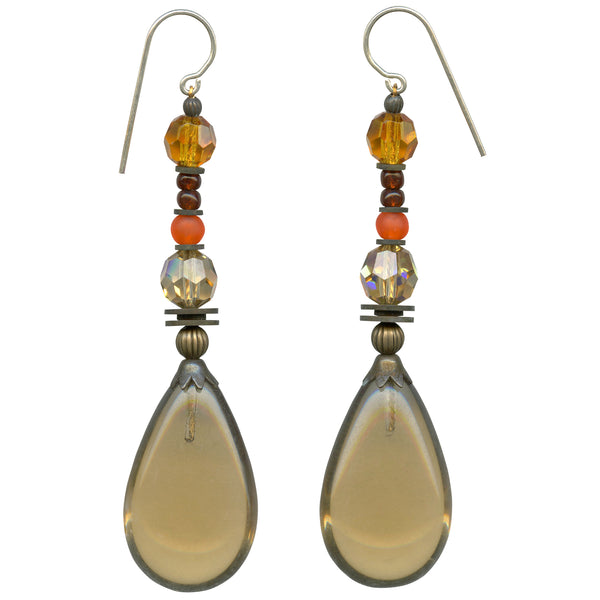 Light smoke topaz glass and Austrian crystal earrings, Czech glass
