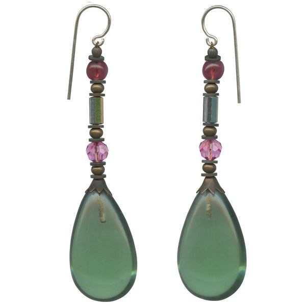 green glass drop earrings with Austrian crystal and Czech glass accents