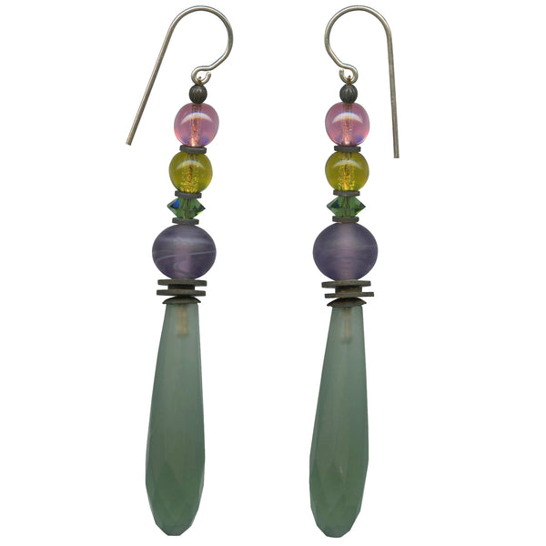 frosted green chandelier glass and crystal earrings