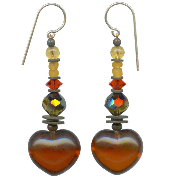 Dark topaz heart earrings. Czech and German glass with Austrian crystal.