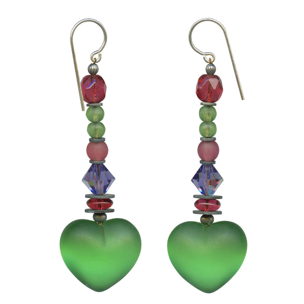Frosted peridot heart earrings. Czech glass, Austrian crystal