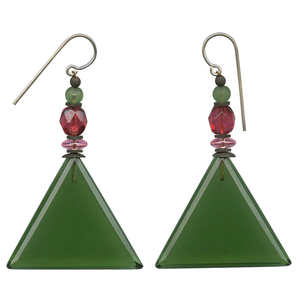 Green glass geometric drop earrings. Pink and frosted peridot Czech glass accents. Antiqued bronze metal accents with sterling silver ear wires. All handwork done in the USA.