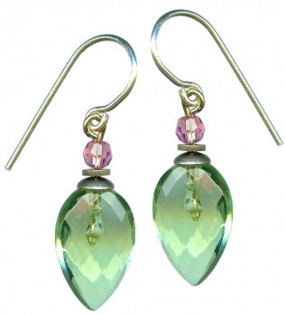 BIRDSONG 17 - peridot glass earrings with light pink Austrian crystal accents. Handmade in the USA.