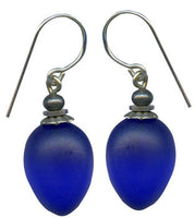 Frosted cobalt blue glass drop earrings, sterling silver ear wires. Handmade in the USA.
