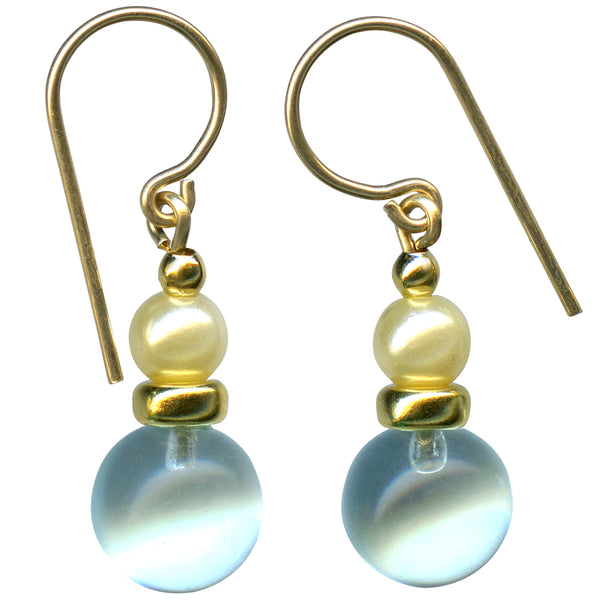 Aquamarine glass drop earrings with glass pearls and gold accents