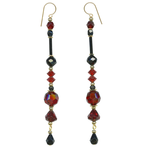 red and black crystal earrings, Antique Czech glass and Austrian crystal chandelier earrings