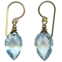 Light aquamarine faceted glass earrings with gold filled accents