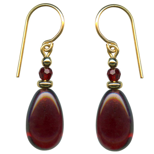 Garnet glass drops earrings with gold accents. Top beads are siam red Austrian crystal. All handwork done in the USA.
