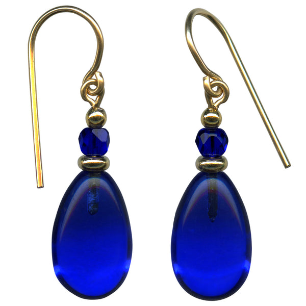 Cobalt glass drops with cobalt Czech glass accents. Gold trim. All handwork done in the USA.