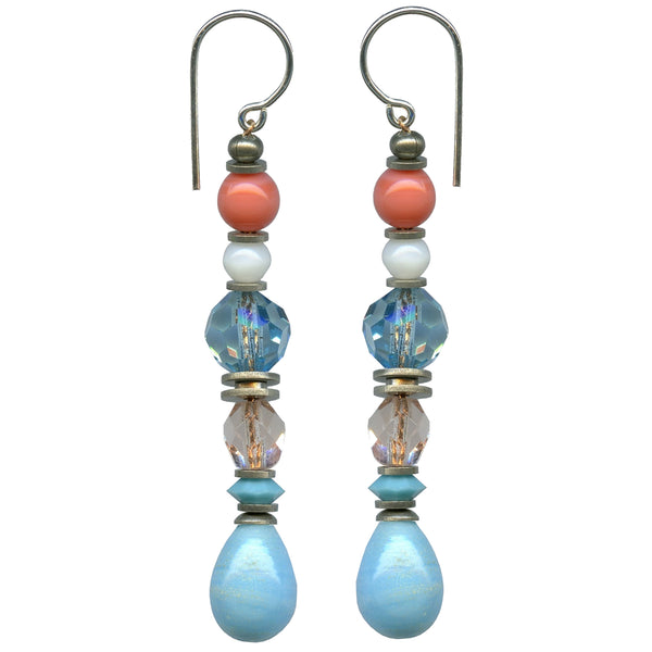 Pastel earrings with antique glass. Turquoise drops are antique Czech glass with light sapphire and pale peach Czech glass accents. Antiqued silver overlay accents with sterling silver ear wires. All handwork done in the USA.