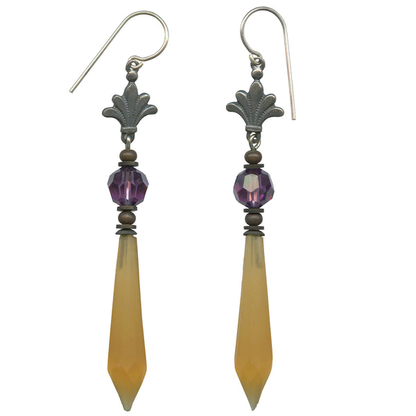 Antique Czech glass prism earrings