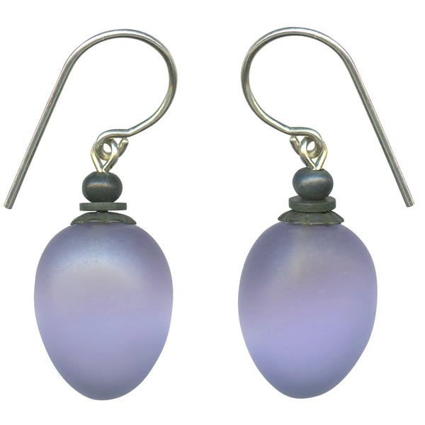 Frosted light amethyst glass drop earrings with bronze accents and silver ear wires
