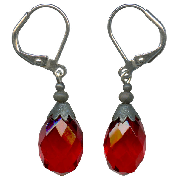 Antique Czech glass red drop earrings. All handwork done in the USA.