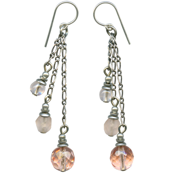 Shades of peach Czechoslovakian glass earrings with sterling silver ear wires.