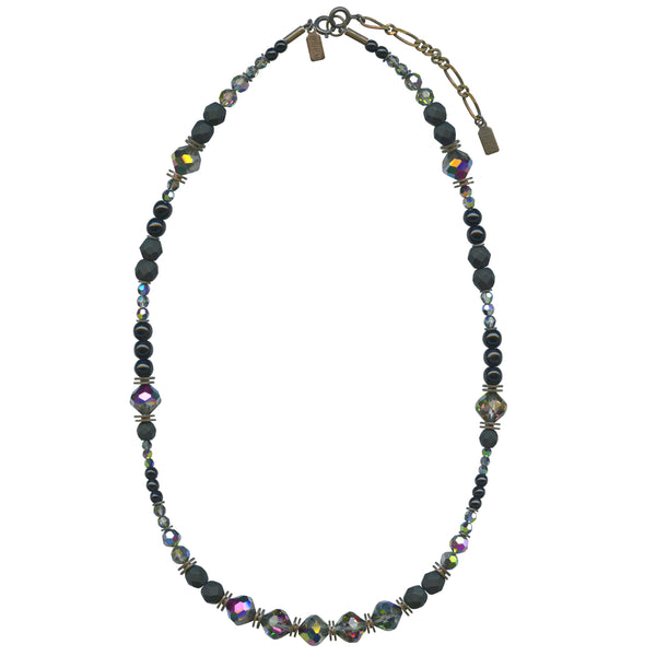 JET AND CRYSTAL TONES 18 INCH NECKLACE IN BRONZE