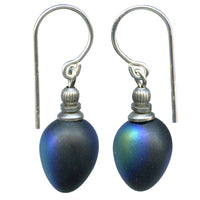 Frosted iridescent jet drop earrings. German jet glass, sterling silver ear wires. Handmade in the US.