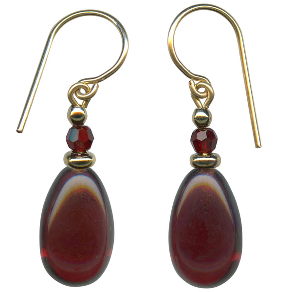 garnet glass and crystal earrings, gold accents