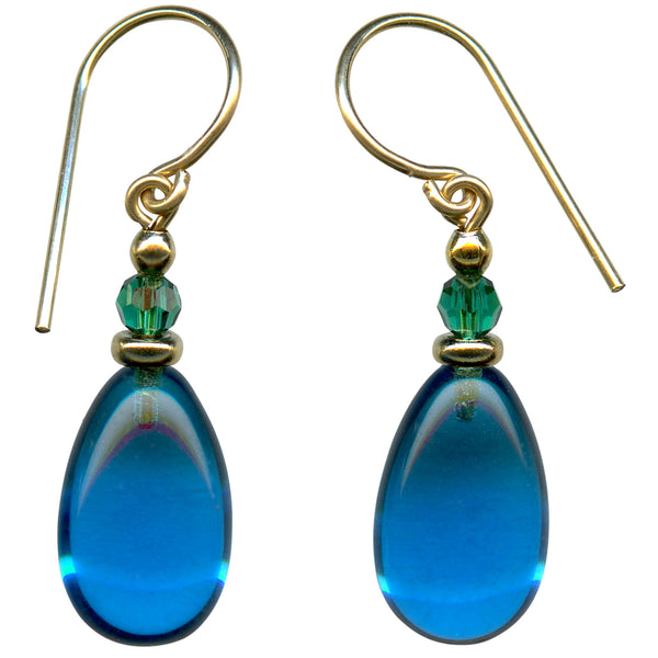 Bright turquoise glass drop earrings with emerald Austrian crystal top beads. Accents and ear wires are gold filled. All handwork done in the USA.