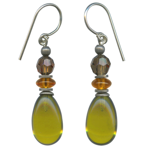 Glass and crystal earrings. Green glass drops with smoke topaz Austrian crystal and Czech glass in topaz