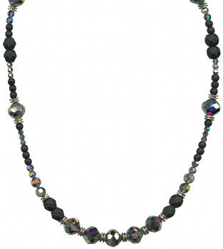 "JET AND CRYSTAL TONES 30"" NECKLACE"