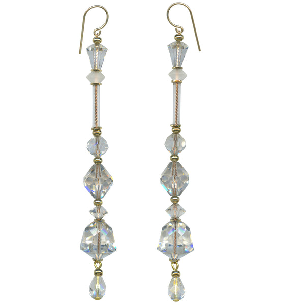 clear crystal shoulder duster earrings, Austrian crystal and antique Czech glass chandelier earrings