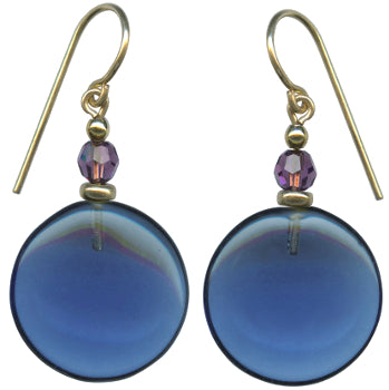 Indigo and amethyst earrings. Blue glass drops with Austrian crystal top beads in amethyst. 14 karat gold filled ear wires. Handmade