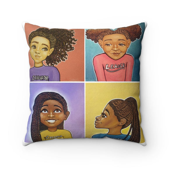Braids I.L.C.O. Square Pillow - Fearlessly Hue by Dana Todd Pope