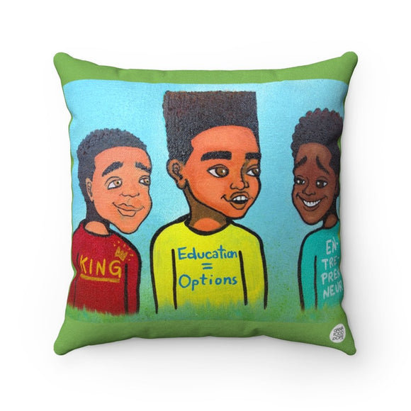 King, Educated, Entrepreneur Square Pillow - Fearlessly Hue by Dana Todd Pope