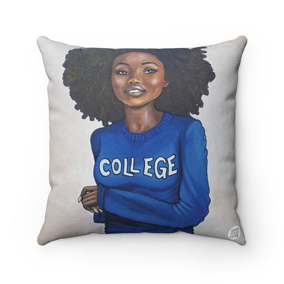 College Blue & White Square Pillow - Fearlessly Hue by Dana Todd Pope