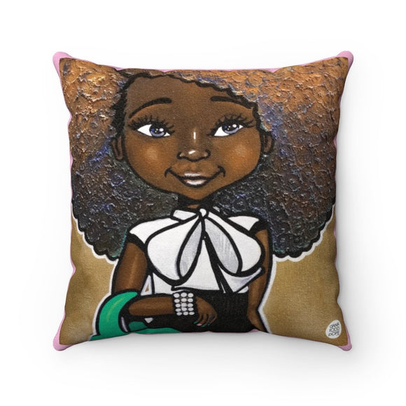 Fashionista (Pink & Green) Square Pillow - Fearlessly Hue by Dana Todd Pope