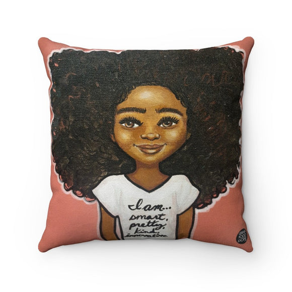 Iam... S, P, K, I Suede Square Pillow - Fearlessly Hue by Dana Todd Pope